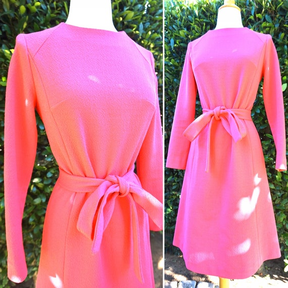 Vintage 1960s Pink Long Sleeve Dress With Belt / P