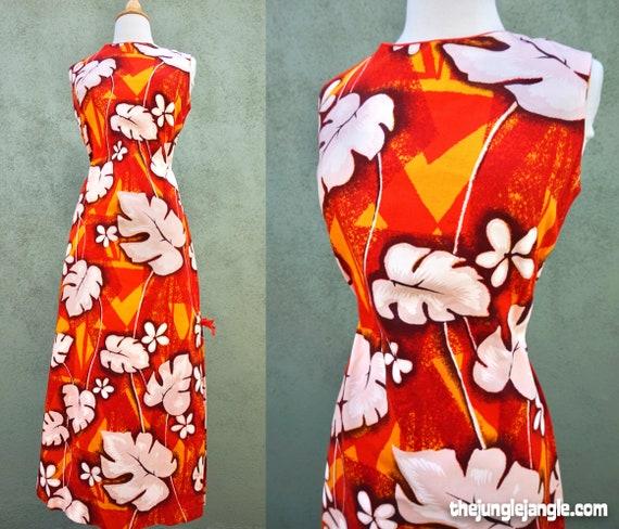 Vintage 1960s Orange Hawaiian Print Maxi Dress / 6