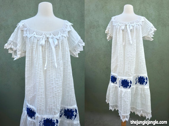 Vintage 1960s Peasant Dress With Embroidery Detail