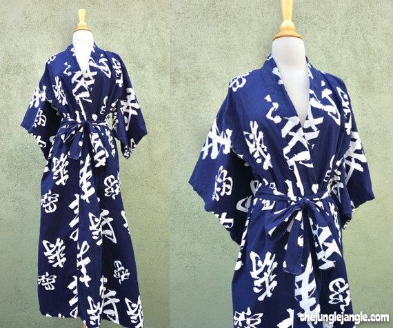 Navy Blue And White Yukata By Horchow / Loungewear