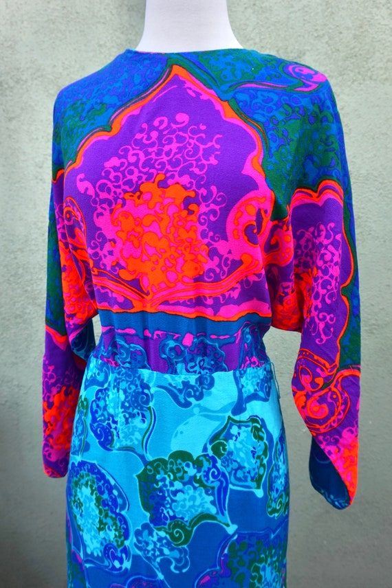 Vintage 1960s Psychedelic Long Sleeve Maxi Dress … - image 2
