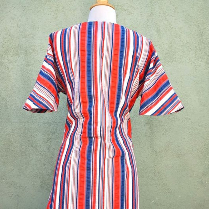 Vintage 1960s Red White And Blue Vertical Striped Mini Dress With Flared Sleeves  60s Dress  Striped Dress Sleeveless Dress  Bell Sleeve