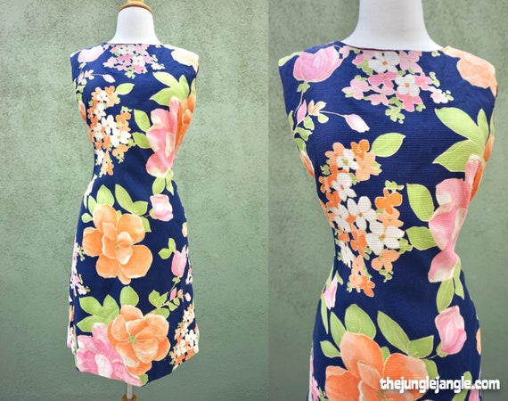 Vintage 1960s Peachy Floral Print Midi Dress / Met