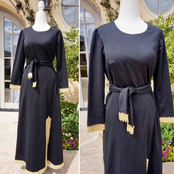 Vintage 1960s Black Maxi Dress With Gold Trim / 60