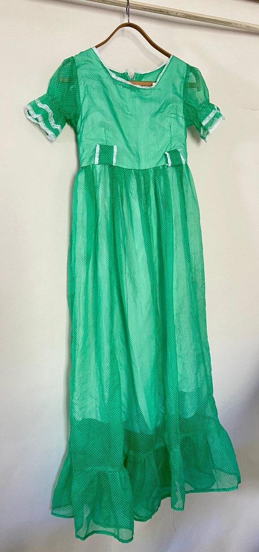 Vintage 1960s Prairie Short Sleeve Dress In Green
