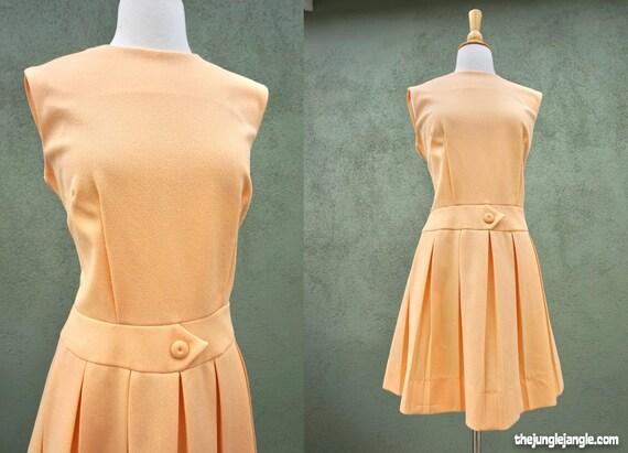 Vintage 1960s Sleeveless Pleated Mini Dress In Apr