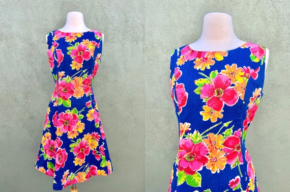 Vintage 1960s Floral Print Fit And Flare Dress Wit