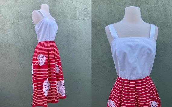 Vintage 1960s Sleeveless Monstera Leaf Print Dress