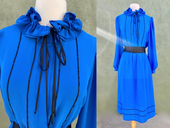 Vintage 1970s Howard Wolf Bright Blue Prairie Dres