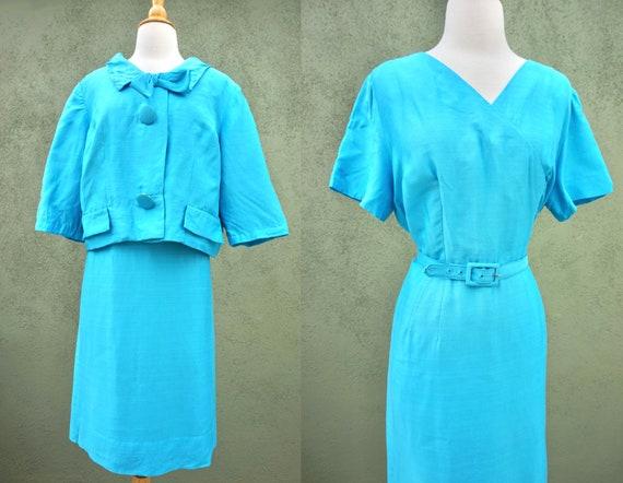 Vintage 1960s Sky Blue Silk Dress Suit With Metal