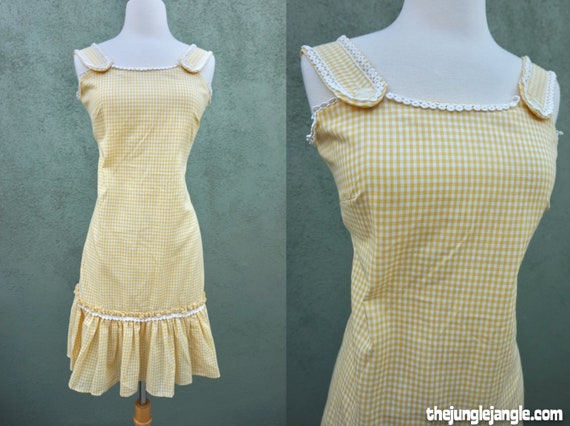 Vintage 1960s Yellow Sleeveless Midi Dress / 60s D