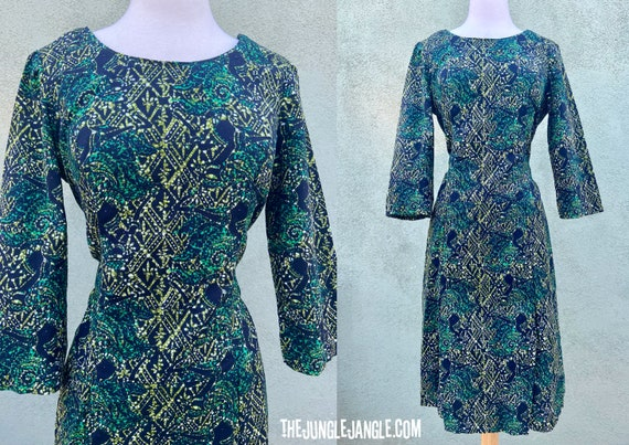 Vintage 1960s Green And Black Print Dress /  60s D