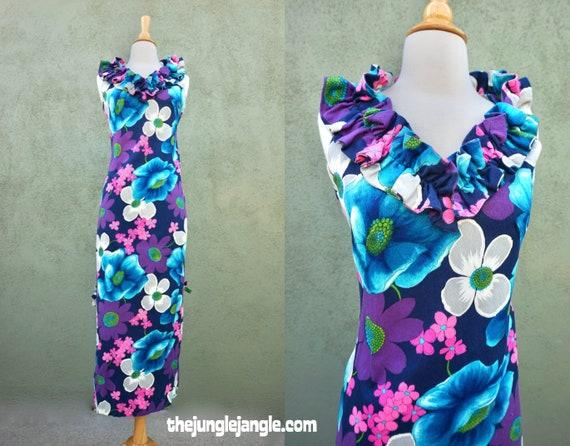 Vintage 1960s Barkcloth Tropical Print Maxi Dress