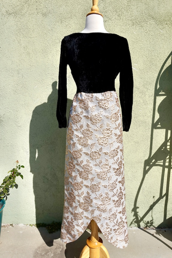 Vintage 1960s Silver Foil Maxi Dress With Long Sle