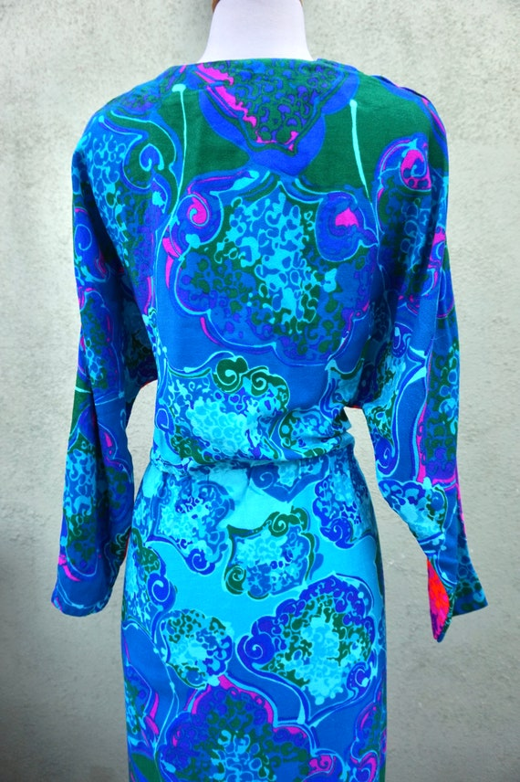 Vintage 1960s Psychedelic Long Sleeve Maxi Dress … - image 5