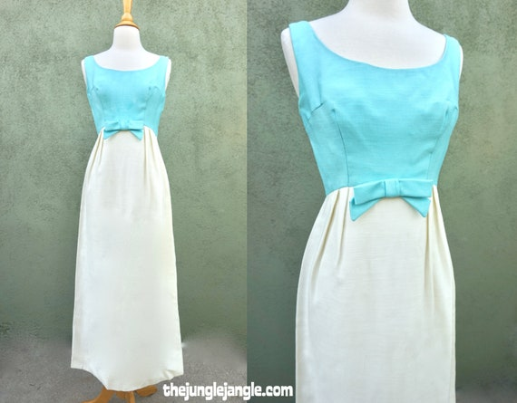 Vintage 1960s Blue And White Sleeveless Maxi Dress
