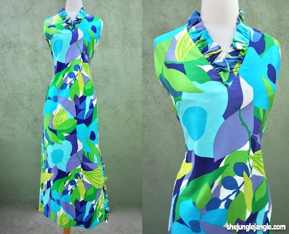 Vintage 1960s Tropical Print Maxi Dress / The Tiki