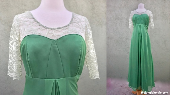Vintage 1960s Green Maxi Formal Dress With Lace De
