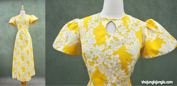 Vintage 1960s Yellow Short Sleeve Maxi Formal Dres