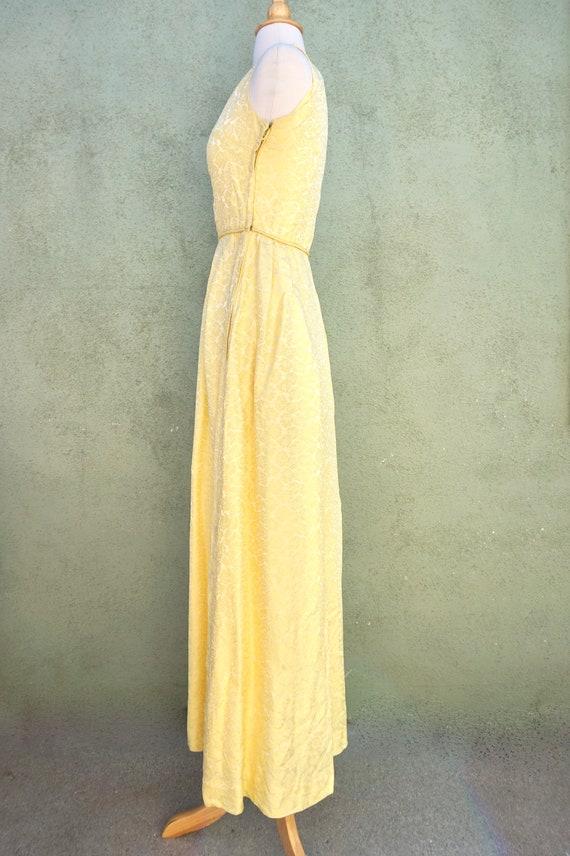 Vintage 1960s Yellow Sleeveless Maxi Formal Dress… - image 4