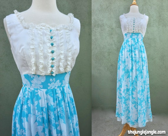 Vintage 1960s Blue And White Sleeveless Maxi Dress
