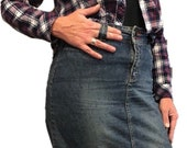 Denim Maxi Skirt Vintage Grunge