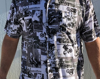 6fb67c8a 1990s Hawaiian button up shirt by Panama Jack Rockabilly, Motorcycles,  Vintage,