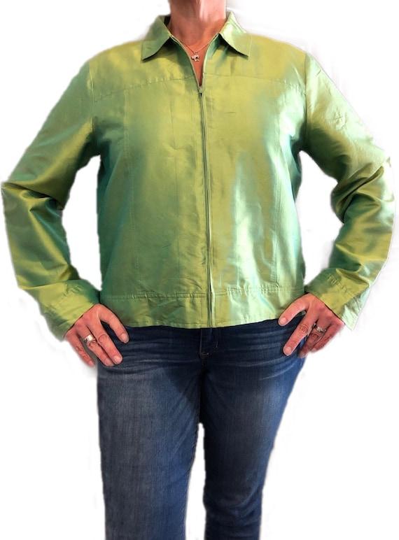 Vintage 1980s Jacket XL Raw Silk Jacket Cream wBrown Cropped Jacket
