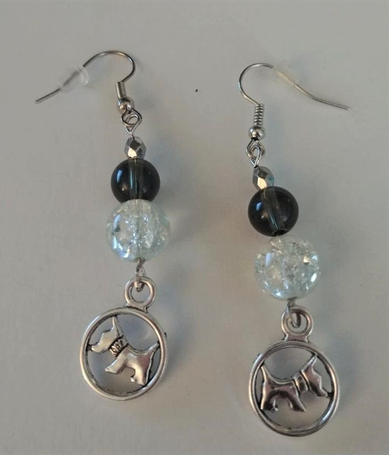 Handmade Silver Scottish Terrier Dog Earrings with Black and Clear Crackle Glass Beads