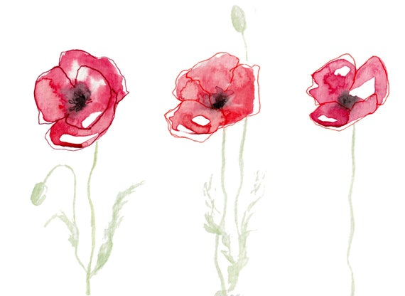 Watercolor Art Poster Flowers Poppies Poster A4 Etsy