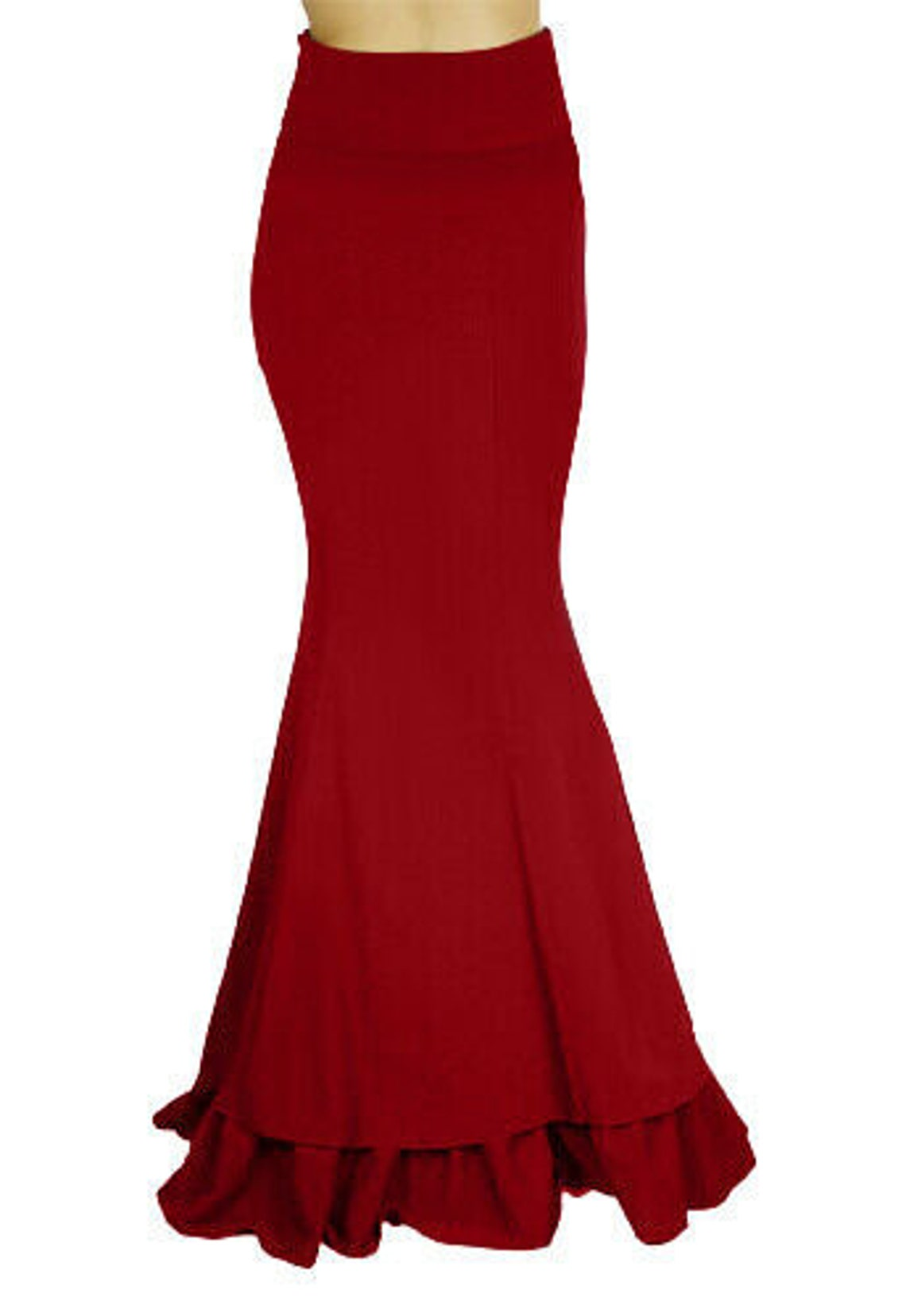18 20 22 24 26 plus red floor length quality ruffle steampunk