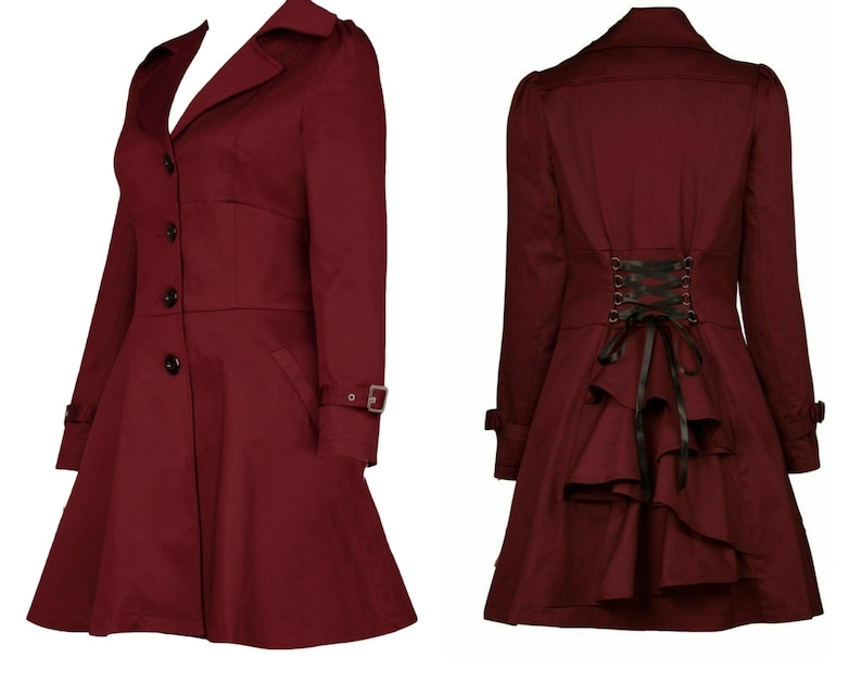 Steampunk Plus Size Clothing & Costumes Plus Size Burgundy Red Victorian Riding Jacket Coat Gothic Steampunk UK 18 20 22 24 True To Size $62.95 AT vintagedancer.com