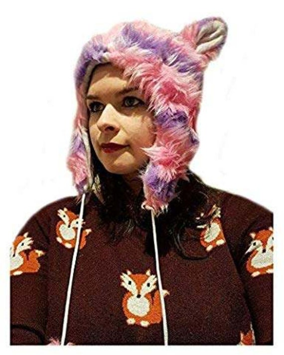 CUPCAKE CULT Furry Animal Meerkat Hat 40 inch long Fluffy Tail Pink Purple Hat