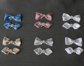 Mini Bow Set~ Pig Tail Bows~Yellow /& White Bows~ Pig Tail Bows~ 2.7 inch Bow~ Extra Small Bow