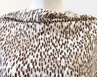 1970/'s Vintage Elliptical Layered Polka Dot Brown and Beige on a White Background Animal Print Knit Polyester Fabric  1 yard 13 by 64 wide