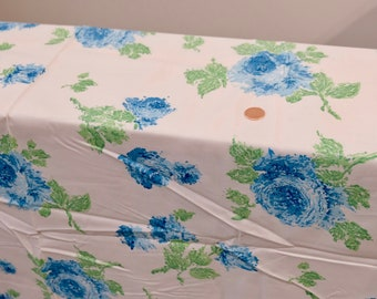 4951baee2f 1950's vintage white cotton with large print of turquoise roses w/ green  stems large print dress cotton fabric 3 yards long by 36