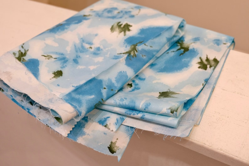 1950/'s Vintage Big Turquoise Roses with Light Blue and Olive on White Summer Cotton Fabric 1 yard 23 long by 36 wide Little Girls Dress ?