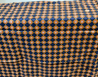 """1950's Vintage Printed Striped Ornate Silk Tie or Ascot Style Fabric   26"""" by 44"""" wide Masculine Vibe Good for Tie, Bow Tie or Ascot"""