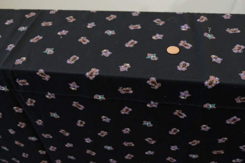 1980/'s vintage black with small pink purple teal paisley /& floral print supple challis rayon dress weight fabric 2 yards long by 45 wide