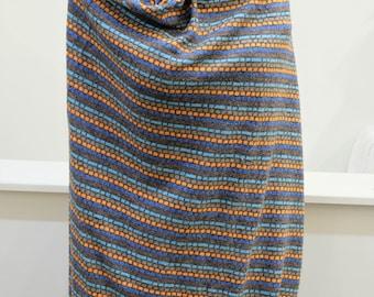 "1980's Vintage Acrylic Striped Knit Sweater Fabric in Grey Orange Blue Print - Soft Shiny Horizontal Stripes 2 yards by 60"" wide"