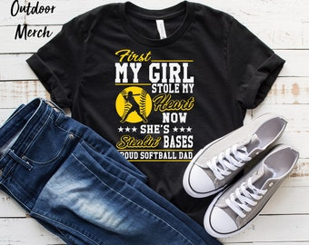 3f4ab46dd Cute Softball Dad T-Shirt   Stealing Bases Stealing Hearts T-Shirt    Softball Father Shirt   Gift for Him   Funny Softball Dad Gift