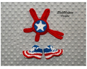 Red White /& Blue Star  Custom Baby Crochet Outfit for Newborn Photos MADE TO ORDER-Newborn Infant Wrestling Headgear