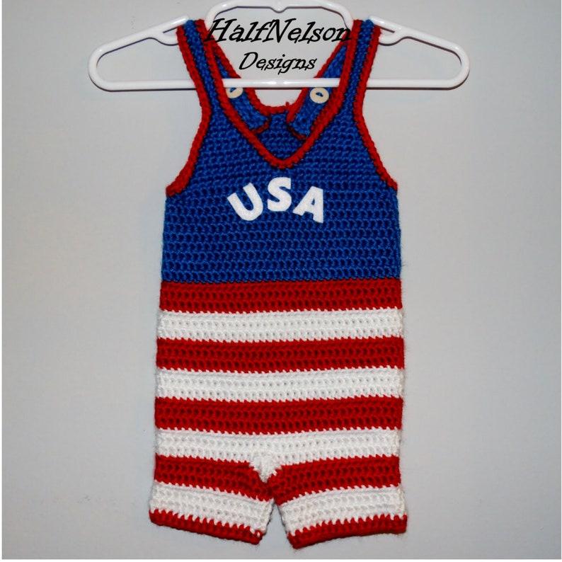 Patriotic Infant Wrestling Singlet  Baby Wrestler  Fourth of July  Red White Blue  Crochet Baby Singlet  Baby Costume  Newborn Photo