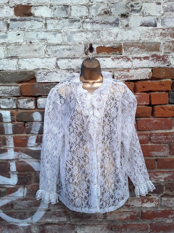 80s Victorian Goth Sheer White Lace Blouse Ruffle