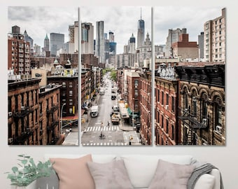 NY Skyline Large Wall D\u00e9cor For Home View Of New York American City Art Decor US Skyscraper Wall Panels New York City Canvas Print