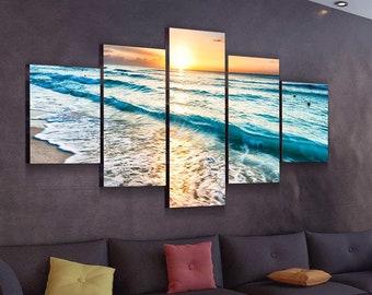 Beach Wall Art, Coastal Wall Art, Beach Poster, beach Art Print, Beach Canvas, Beach Painting, Beach Artwork, Ocean Wall Decor, Canvas Art