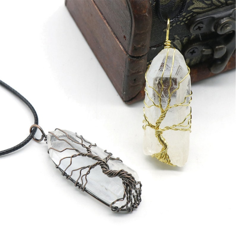 Wire Wrapped Crystal Pendant Necklace Clear Quartz Point Clear Quartz Pendant Tree Of Life Quartz Pendant Raw Clear Quartz Point.