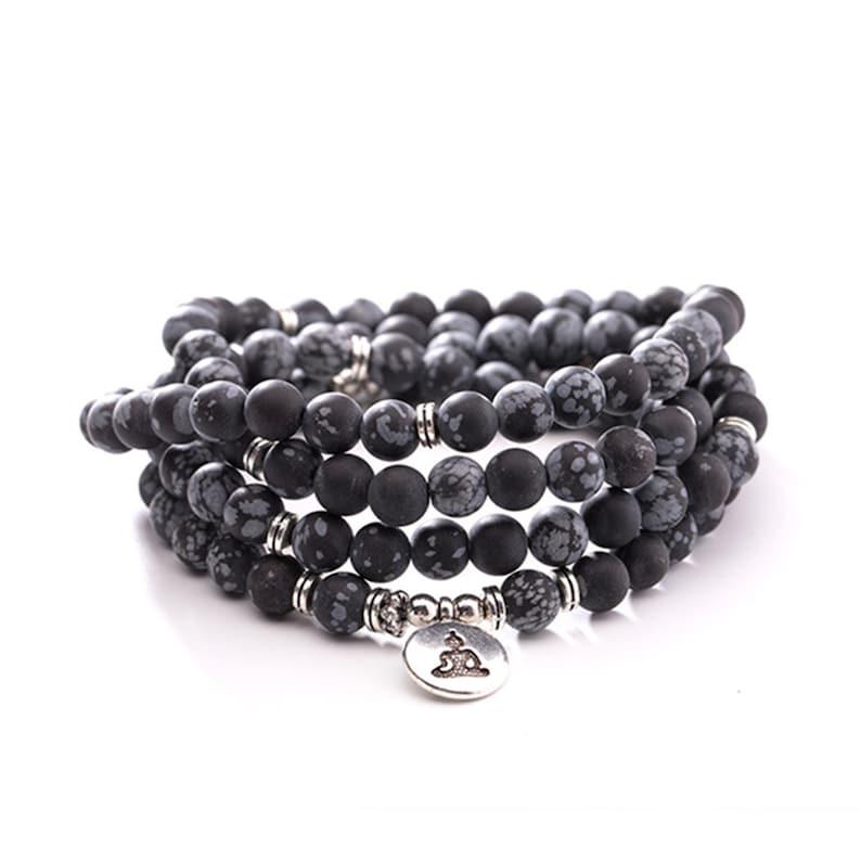 108 Mala Beads Necklace,Buddha Bracelet. Sknowflake Obsidian Stone Wrap Bracelet For Women,108 Mala Bracelet