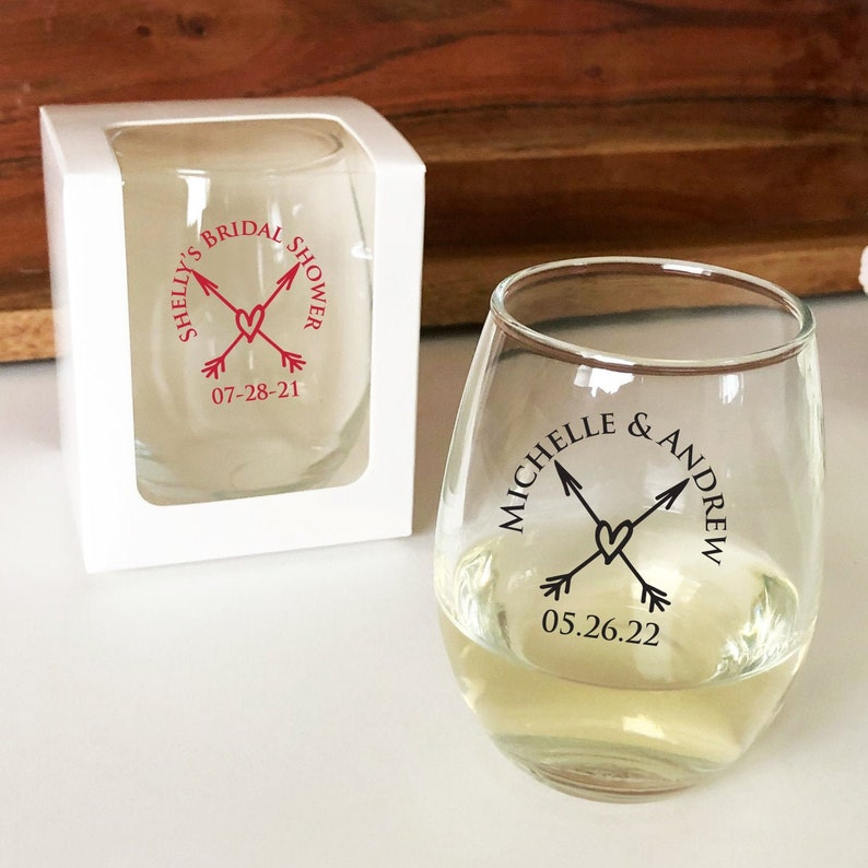 DM25B Arrow Rustic Heart Design Personalized Stemless 9 Ounce Glass Wine Wedding Box SOLD Separately Set of 24