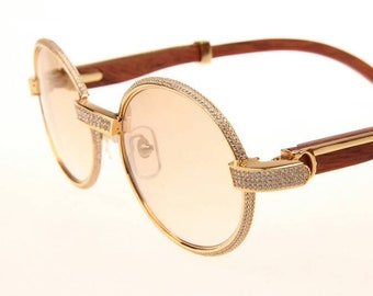 5ea582734a0 Custom Diamond Cartier Giverny Wood Sunglasses